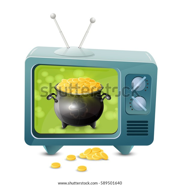 Patrick day theme with retro TV icon isolated on white background, golden coins and pot of leprechaun gold, illustration.