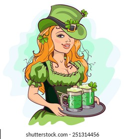 Patrick girl holding a tray of green beer. Illustration in vector format