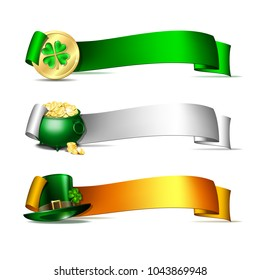 Patricks Day banners. Colorful ribbons with green leprechaun top hat, pot full of gold coins and golden coins of leprechaun with clover. Vector illustration isolated on white background
