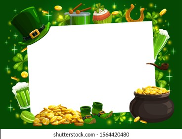 Patricks Day Irish holiday shamrock, leprechaun gold and hat vector frame. Lucky clover leaves and horseshoe, golden coins pot, green beer, celtic elf shoes and smoking pipe