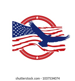 patriot american logo vector set