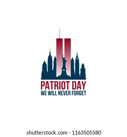 Patriot Day card with Twin Towers and phrase We will never forget. USA Patriot Day banner. September 11, 2001. World Trade Center. Vector design template.