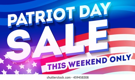 Patriot day discount banner template. Big sale banner. Background for your business Promotion. Vector illustration design element for your web site, flyer, advertisement, poster, greeting card.
