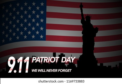Patriot Day illustration. September 11. We will never forget