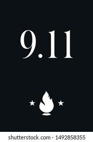 Patriot day typographic emblem. 9-11 logo, We Will Never Forget. 11 september. Design for postcard, flyer, poster, banner or t-shirt. Vector illustration.