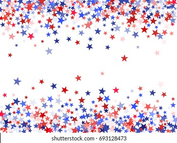 Patriot Day USA background with stardust frame. Red and blue star dust border for American Independence Day graphic design. Flying holiday stars confetti for President Day celebration.