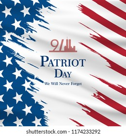 Patriot day USA Never forget 9.11 vector poster. Patriot Day, September 11, We will never forget vector illustration