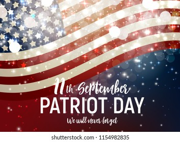 Patriot Day USA poster background.September 11, We will never forget. Vector illustration. EPS10