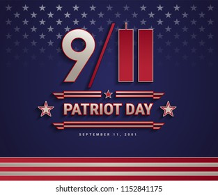 Patriot Day USA September 11, 2001, the United States National Remembrance Day patriotic background with 9/11 and Patriot Day text. Vector illustration