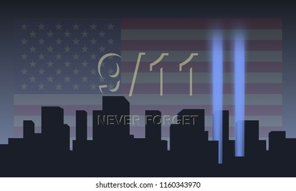 Patriot day USA vector concept. Never forget September 11, 2001.