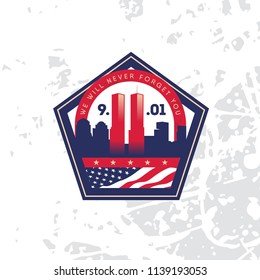 Patriot day vector poster with American flag. Never forget. September 11