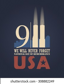 Patriot day vector poster. September 11.