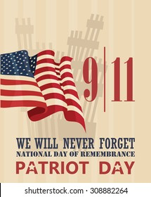 Patriot day vector poster. September 11.