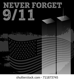 Patriot day vector poster. September 11. Never forget.