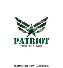 patriot with military star camouflage modern logo vector illustration