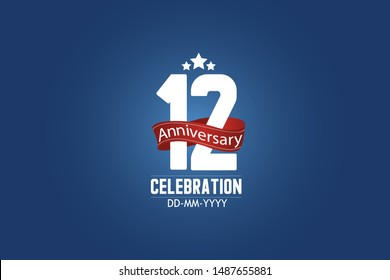 Patriotic 12 year anniversary celebration white color number USA Style Red ribbon on Blue Background for celebration, logo, wedding, banner card - vector