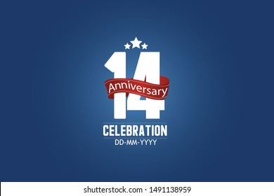 Patriotic 14 year anniversary celebration white color number USA Style Red ribbon on Blue Background for celebration, logo, wedding, banner card - vector