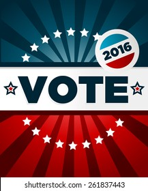 Patriotic 2016 voting poster with banner and button