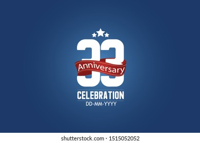 Patriotic 33 year anniversary celebration white color number USA Style Red ribbon on Blue Background for celebration, logo, wedding, banner card - vector