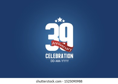 Patriotic 39 year anniversary celebration white color number USA Style Red ribbon on Blue Background for celebration, logo, wedding, banner card - vector