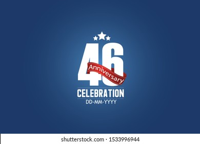 Patriotic 46 year anniversary celebration white color number USA Style Red ribbon on Blue Background  - vector