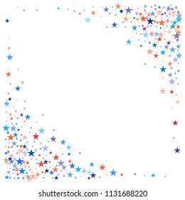 patriotic american stars confetti corners. USA Presidents day banner background. Blue and Red 4th of July Stars sparkles isolated on white. july fourth backdrop Vector Illustration,