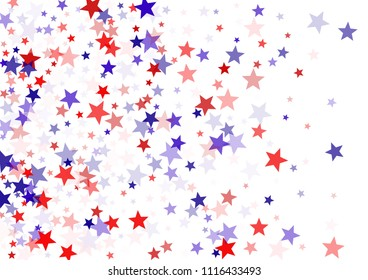 Patriotic American stars confetti on white. USA Independence Day banner background vector illustration in national flag colos. Blue and red 4th of July Independence American sparkle stars flying.