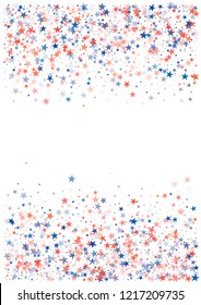 patriotic american stars confetti. USA Presidents day banner background. Blue and Red 4th of July Stars sparkles isolated on white. july fourth backdrop Vector Illustration,