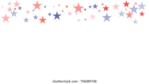 patriotic american stars confetti. USA Presidents day banner background. backdrop Vector Illustration, Blue and Red 4th of July Stars sparkles isolated on white.