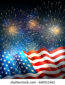 Patriotic background with american flag and fireworks, background for fourth of july, independence day. EPS 10, contains transparency.