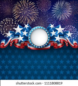 Patriotic background with banner, fireworks and ribbons, EPS 10, contains transparency.