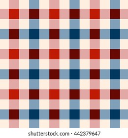 Patriotic background patterns for Independence Day in red, white and blue Seamless geometric 4th July wallpapers, textiles, scrap booking.