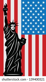 Patriotic background with Statue of Liberty and American Flag