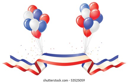 Patriotic Banner and Red White Blue Balloons