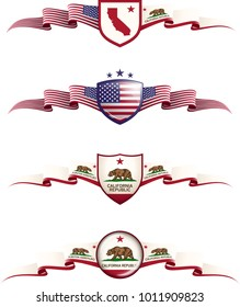 Patriotic Banner Set. Vector graphic badges and flags representing California State