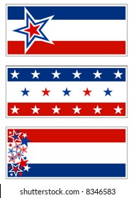 Patriotic banners with stars and stripes.  Grouped for banners, signs, and bumper stickers but all elements can be individually placed in any design.