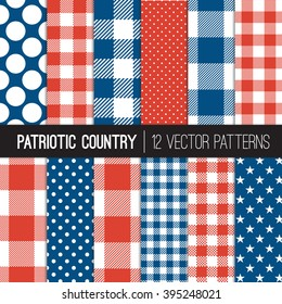 Patriotic Buffalo Check Plaid,  Gingham, Stars and Polka Dots Country Style Patterns in Red, White and Blue. Perfect for Election or July 4th Background. Pattern Swatches made with Global Colors.