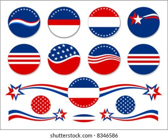 Patriotic circle backgrounds and decorative elements for campaign buttons.