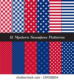 Patriotic Colored Stars, Stripes, Polka Dot and Gingham Patterns in Red, White and Blue. Perfect as 4th of July or Nautical background. Pattern Swatches made with Global Colors.