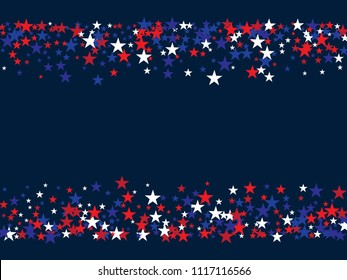 Patriotic Confetti 4th of July, Independence Day of America Stars. Falling Stars Texture, USA Confetti Border in Blue, Red, White. US Independence Day, 4th of July, National Symbols Ads Background.