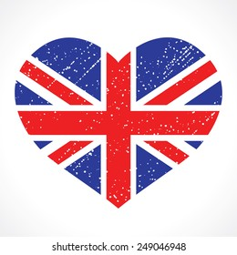 Patriotic emblem of Britain in the shape of a heart