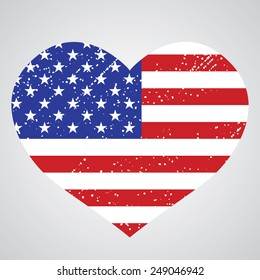 Patriotic emblem of usa in the shape of a heart