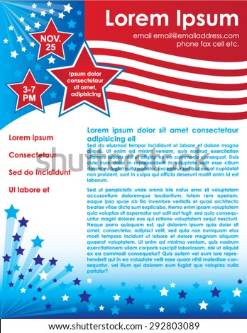 patriotic flyer template stock vector royalty free 292803089