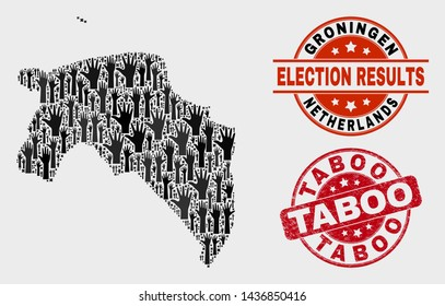 Patriotic Groningen Province map and seal stamps. Red round Taboo scratched watermark. Black Groningen Province map mosaic of upwards volunteer arms. Vector combination for referendum results,