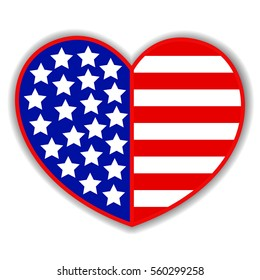 Patriotic heart symbol with an abstract American flag, logo and design element