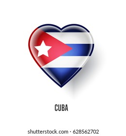 Patriotic heart symbol with Cuba flag vector illustration isolated on white background. Love Cuba design element or shiny logo, glossy button.