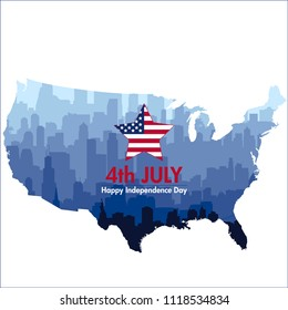 Patriotic independence day background with biggest USA cities silhouettes and map