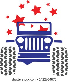 patriotic jeep, blue red and white