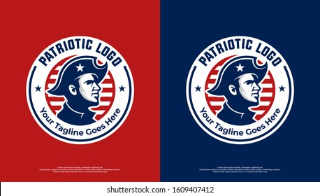 Patriotic logo with badge style red and blue