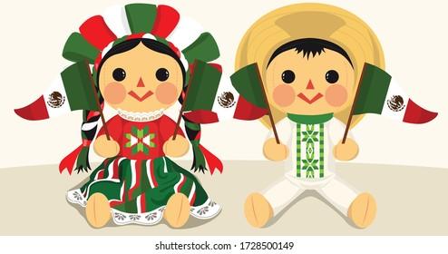 Patriotic Mexican Traditional RagDolls – Vector Illustration